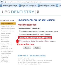 Dental Hygiene Entry to Practice Program Selection