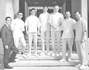 a photo of the first UBC Dentistry class of 1968 with then Dean. S. Wah Leung. Dr. Christianson: second from the right.